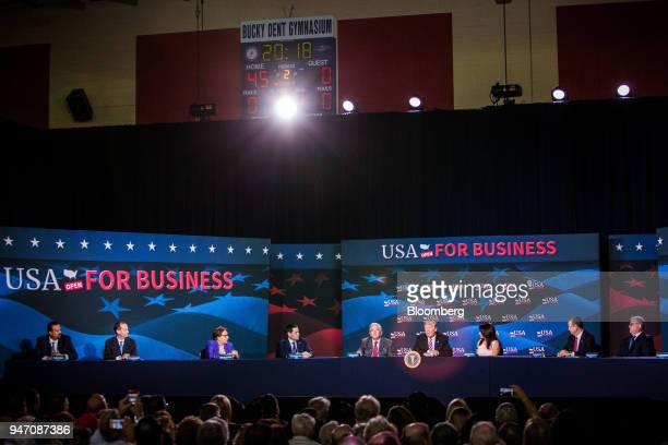 US President Donald Trump fourth right speaks during roundtable discussion on tax cuts for Florida small businesses in Hialeah Florida US on Monday...