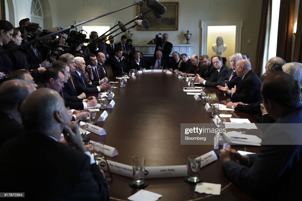 U.S. President Donald Trump, from center right, listens while Representative Kevin Brady, a Republican from Texas, speaks during a meeting with bipartisan members of Congress on trade in the Cabinet Room of the White House in Washington, D.C., U.S., on Tuesday, Feb. 13, 2018. Republican lawmakers cautioned Trumpin a White House meeting against levying tariffs on steel and aluminum imports, warning that it would raise prices of the metals and potentially cost the U.S. jobs in other industries including car manufacturing. Photographer: Yuri Gripas/Bloomberg via Getty Images
