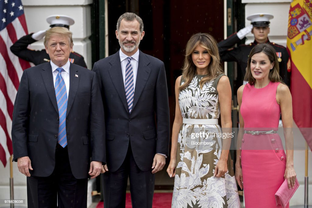 U.S. President Donald Trump, from left, Felipe VI, Spain's king, First Lady Melania Trump and Queen Letizia stand for photographers at the South Portico of the White House in Washington, D.C., U.S., on Tuesday, June 19, 2018. King Felipe and Queen Letizia are beginning a visit to the U.S., celebrating the 300th anniversaries of the founding of New Orleans and San Antonio. Photographer: Andrew Harrer/Bloomberg via Getty Images