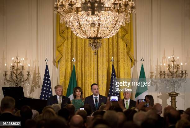 US President Donald Trump from left First Lady Melania Trump Leo Varadkar Ireland's prime minister and US Vice President Mike Pence take part in the...