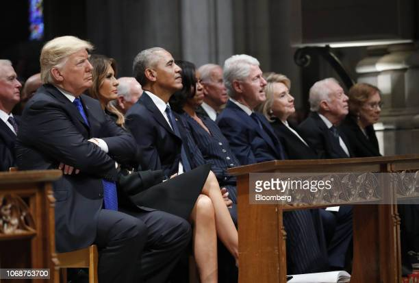 US President Donald Trump from left US First Lady Melania Trump former US President Barack Obama former US First Lady Michelle Obama former US...
