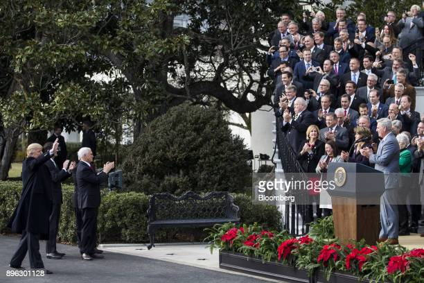US President Donald Trump from left US House Speaker Paul Ryan a Republican from Wisconsin and US Vice President Mike Pence react while arriving to a...