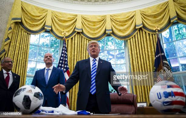 US President Donald Trump from right speaks as Gianni Infantino president of FIFA and Carlos Cordeiro president of the United States Soccer...
