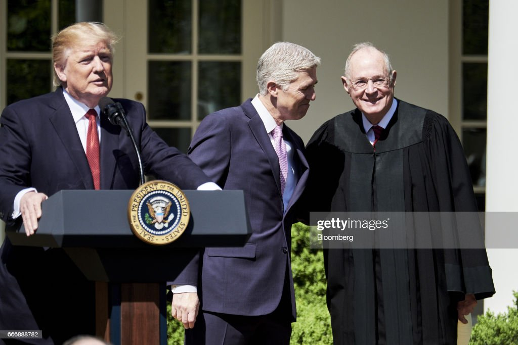 Justice Anthony Kennedy Administers The Judicial Oath To Judge Neil Gorsuch At The White House