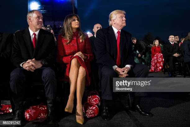 US President Donald Trump from right US First Lady Melania Trump and Ryan Zinke US secretary of interior sit during the 95th Annual National...