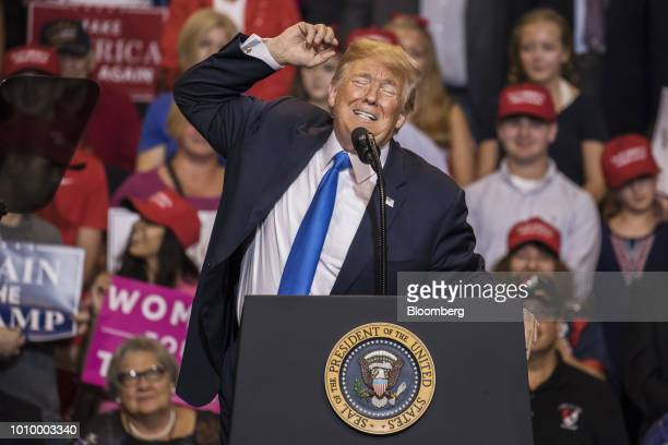 US President Donald Trump gesticulates as he speaks during a rally in WilkesBarre Pennsylvania US on Thursday Aug 2 2018 Trump tweeted Thursday that...