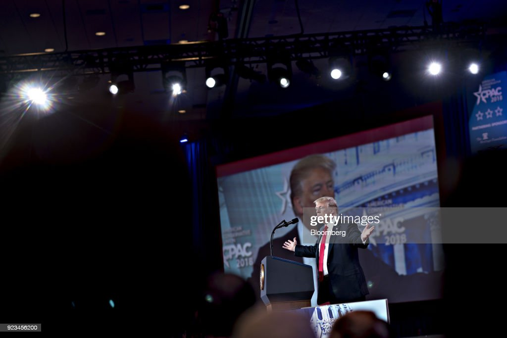 U.S. President Donald Trump gesture while speaking at the Conservative Political Action Conference (CPAC) in National Harbor, Maryland, U.S., on Friday, Feb. 23, 2018. The list of speakers at CPAC includes two European nativists who are addressing the gathering between panels and events on the dangers of immigration, Sharia law and lawless government agencies. Photographer: Andrew Harrer/Bloomberg via Getty Images