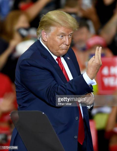 President Donald Trump gestures after speaking at a campaign event at Xtreme Manufacturing on September 13, 2020 in Henderson, Nevada. Trump's visit...