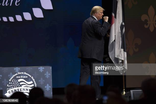 US President Donald Trump gestures after speaking during the 100th American Farm Bureau Federation Convention in New Orleans Louisiana US on Monday...