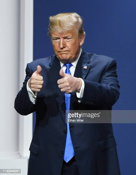 President Donald Trump gestures after speaking during the Republican Jewish Coalition's annual leadership meeting at The Venetian Las Vegas on April...