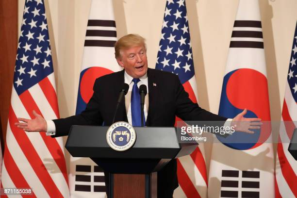 US President Donald Trump gestures as he speaks during a news conference with Moon Jaein South Korea's president not pictured at the presidential...