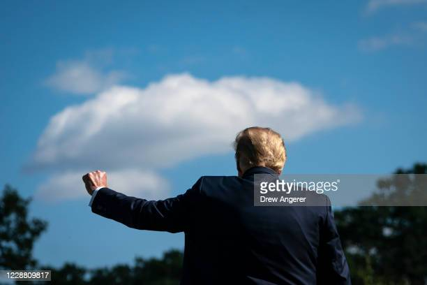 President Donald Trump gestures as he walks toward Marine One on the South Lawn of the White House on September 30, 2020 in Washington, DC. President...