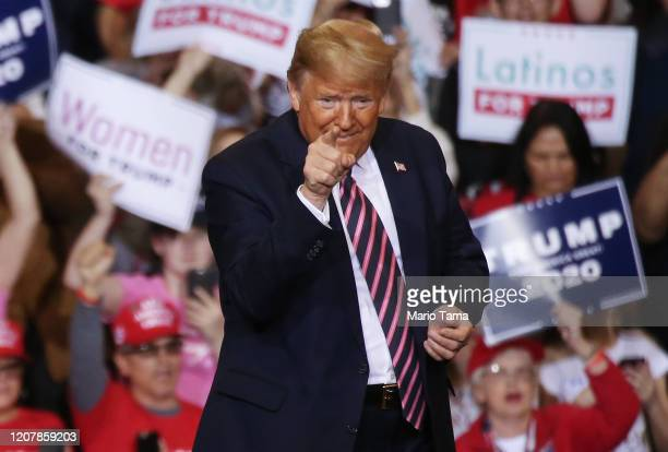President Donald Trump gestures at a campaign rally at Las Vegas Convention Center on February 21 2020 in Las Vegas Nevada The upcoming Nevada...