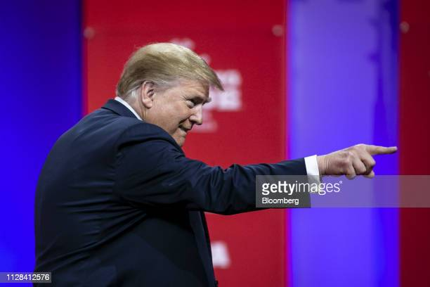 US President Donald Trump gestures before speaking during the Conservative Political Action Conference in National Harbor Maryland US on Saturday...