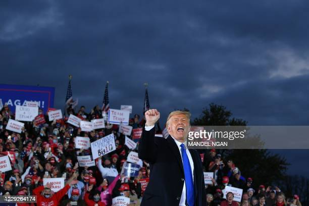 President Donald Trump gestures during a campaign rally at Pickaway Agriculture and Event Center in Circleville, Ohio on October 24, 2020.