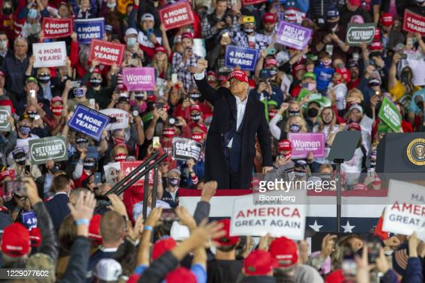 President Donald Trump gestures during a campaign rally in Des Moines, Iowa, U.S., on Wednesday, Oct. 14, 2020. Trump's re-election campaign is suing...