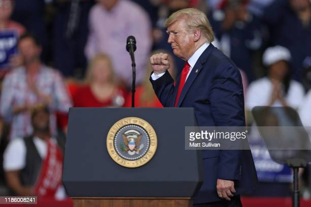 """President Donald Trump gestures during a """"Keep America Great"""" rally at the Monroe Civic Center on November 06, 2019 in Monroe, Louisiana. President..."""