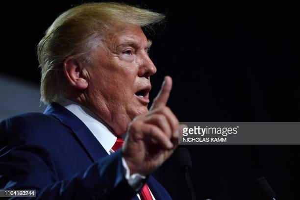 US President Donald Trump gestures during a press conference in Biarritz southwest France on August 26 on the third day of the annual G7 Summit...