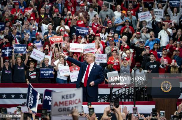 President Donald Trump gestures during a rally in Charlotte, North Carolina, on Monday, March 2, 2020. Trump told reporters in the Oval Office on...