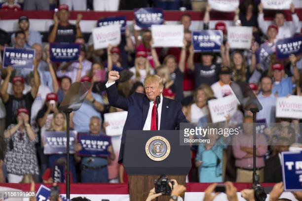 President Donald Trump gestures during a rally in Greenville, North Carolina, U.S., on Wednesday, July 17, 2019. Trumpissued his most extensive...