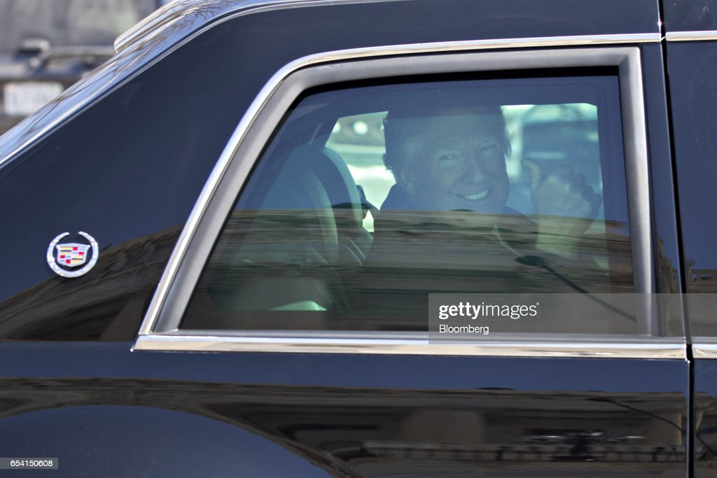 Image result for donald trump in the US Presidential limousine