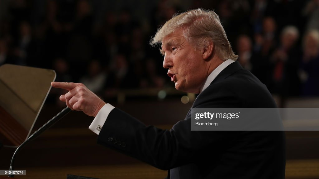 President Trump Delivers First Address To Joint Session Of Congress : News Photo