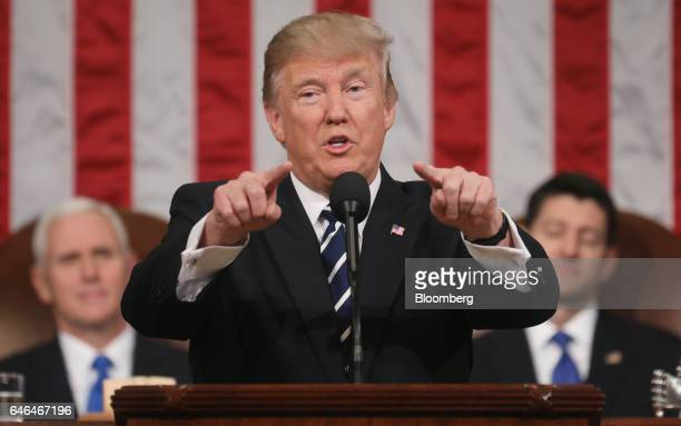 US President Donald Trump gestures while speaking during a joint session of Congress in Washington DC US on Tuesday Feb 28 2017 Trump will press...