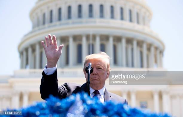 US President Donald Trump gestures while speaking during the 38th annual National Peace Officers Memorial Day service at the US Capitol in Washington...