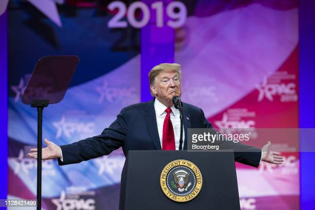 US President Donald Trump gestures while speaking during the Conservative Political Action Conference in National Harbor Maryland US on Saturday...