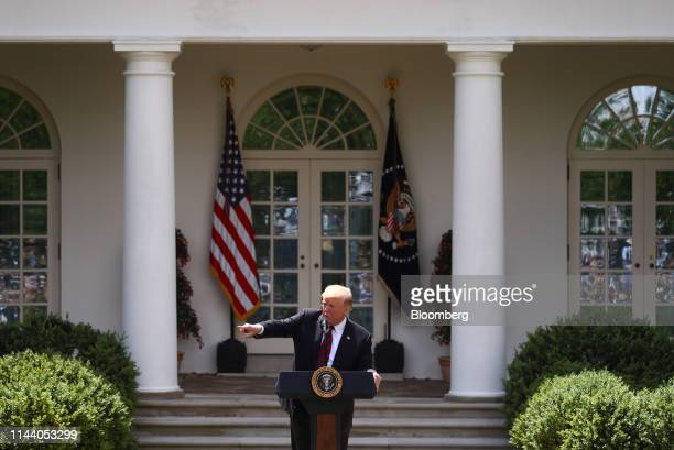 US President Donald Trump gestures while speaking in the Rose Garden of the White House in Washington DC US on Thursday May 16 2019 Trump is...