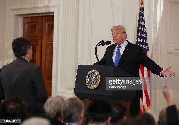 S President Donald Trump gets into an exchange with Jim Acosta of CNN after giving remarks a day after the midterm elections on November 7 2018 in...