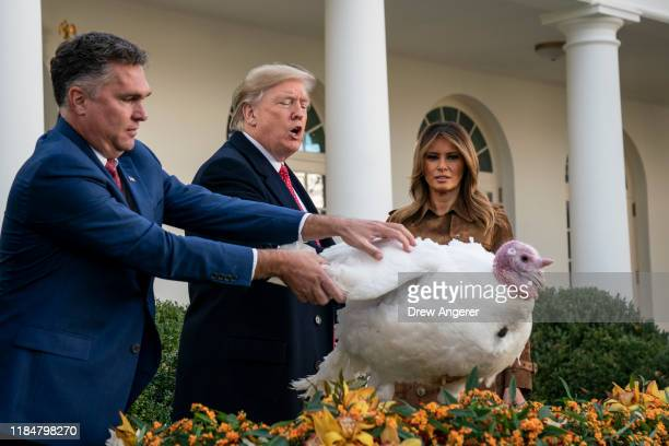 S President Donald Trump gives a presidential pardon to the National Thanksgiving Turkey Butter during the traditional event with first lady Melania...