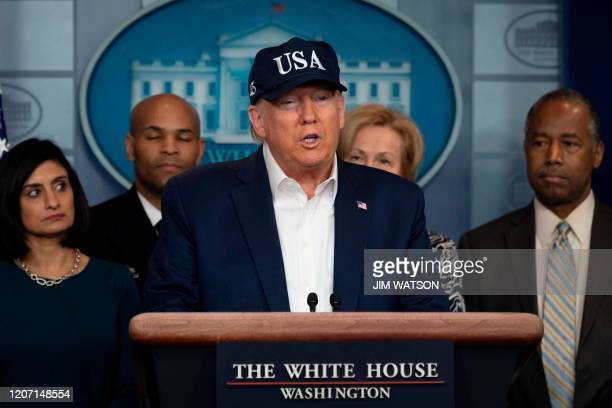 US President Donald Trump gives a press briefing about the Coronavirus alongside members of the Coronavirus Task Force in the Brady Press Briefing...