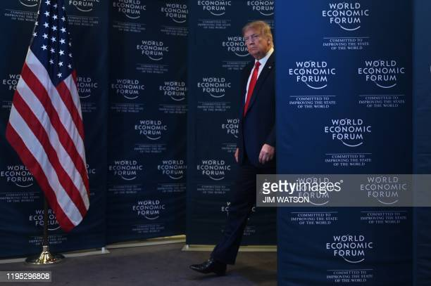 US President Donald Trump gives a press conference at the World Economic Forum in Davos Switzerland on January 22 2020