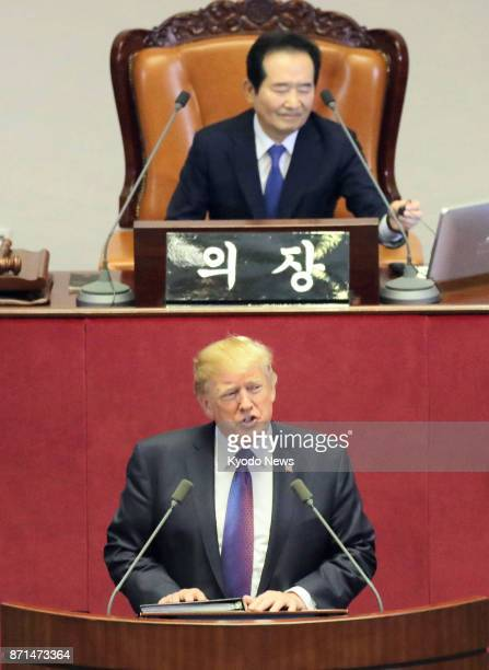 US President Donald Trump gives a speech at the South Korean parliament in Seoul on Nov 8 2017 ==Kyodo
