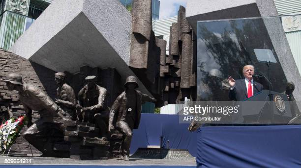 US President Donald Trump gives a speech in front of the Warsaw Uprising Monument on Krasinski Square during the Three Seas Initiative Summit in...