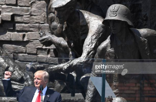 US President Donald Trump gives a speech in front of the Warsaw Uprising Monument on Krasinski Square on the sidelines of the Three Seas Initiative...