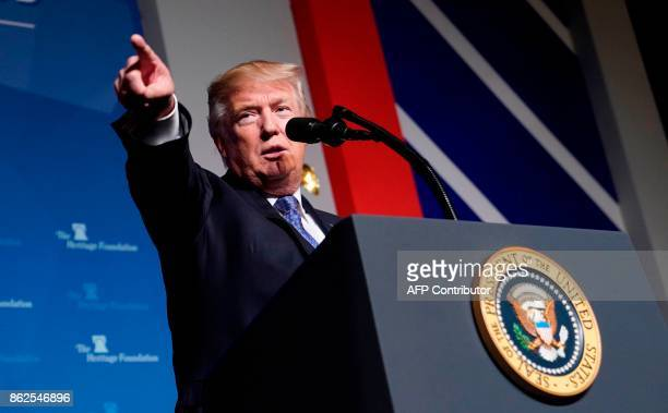 US President Donald Trump gives a speech on tax reform at the Heritage Foundation's President's Club Meeting at a hotel in Washington DC on October...