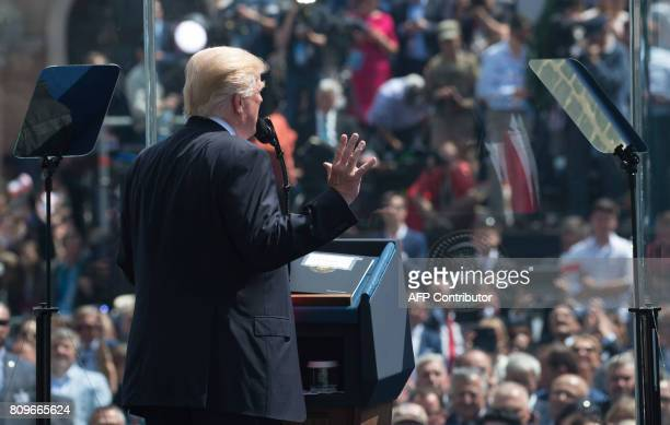 US President Donald Trump gives a speeech at the Warsaw Uprising Monument on Krasinski Square after he gave a speech during the Three Seas Initiative...