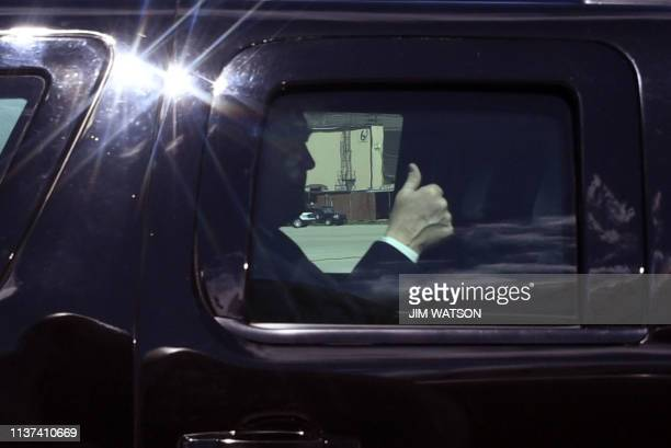 President Donald Trump gives a thumbs up as he arrives at Andrews Air Force Base Maryland on April 152019 en route to Minnesota