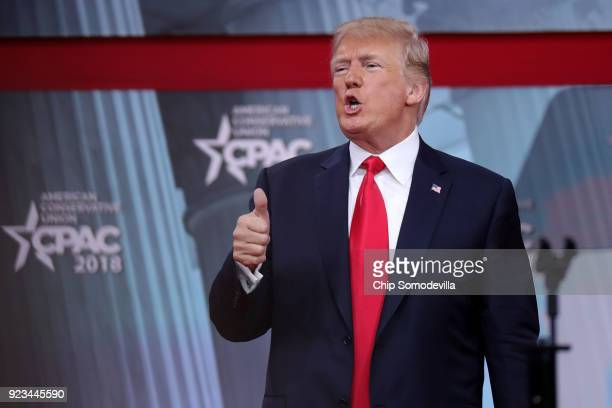 S President Donald Trump gives a thumbsup after addressing the Conservative Political Action Conference at the Gaylord National Resort and Convention...