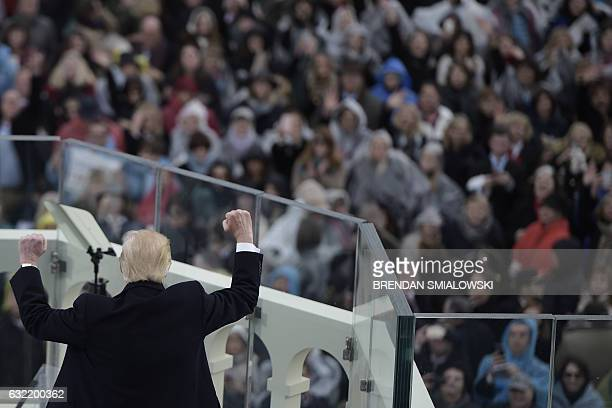 US President Donald Trump gives his first speech as the 45th US president in front of the Capitol in Washington on January 20 2017 / AFP / Brendan...