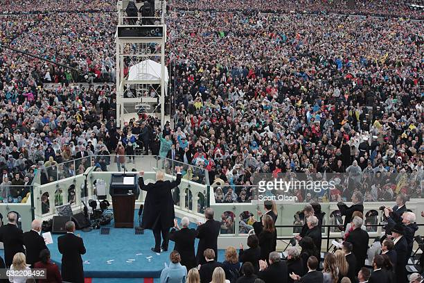 President Donald Trump gives his inaugural speech on the West Front of the US Capitol on January 20 2017 in Washington DC In today's inauguration...