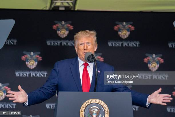 President Donald Trump gives his speech at the commencement ceremony for army cadets on June 13, 2020 in West Point, New York. The graduating cadets...