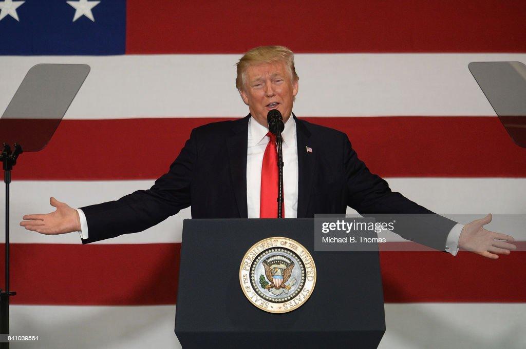 President Trump Speaks On Tax Reform In Springfield, Missouri : News Photo
