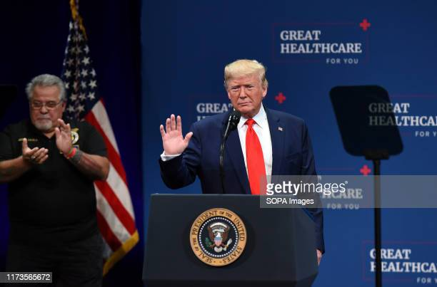 S President Donald Trump gives remarks regarding his administration's health policy before signing an executive order to protect and improve Medicare...