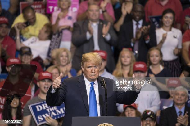US President Donald Trump gives the thumbs up as he arrives on stage at a rally in WilkesBarre Pennsylvania US on Thursday Aug 2 2018 Trump tweeted...