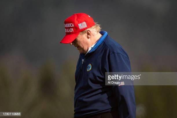 President Donald Trump golfs at Trump National Golf Club on December 13, 2020 in Sterling, Virginia.