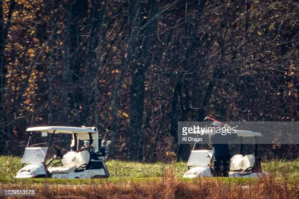 President Donald Trump golfs at Trump National Golf Club, on November 7, 2020 in Sterling, Virginia. News outlets projected that Democratic nominee...