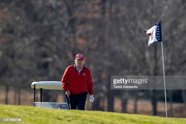 President Donald Trump golfs at Trump National Golf Club on November 26, 2020 in Sterling, Virginia. President Trump stayed in Washington, DC this...